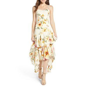 NWT Leith Floral High Low Dress Ivory Blushing M